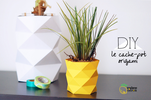 diy origami le pot de fleur. Black Bedroom Furniture Sets. Home Design Ideas