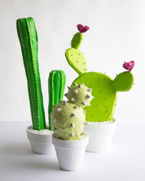 cactus en papier maché