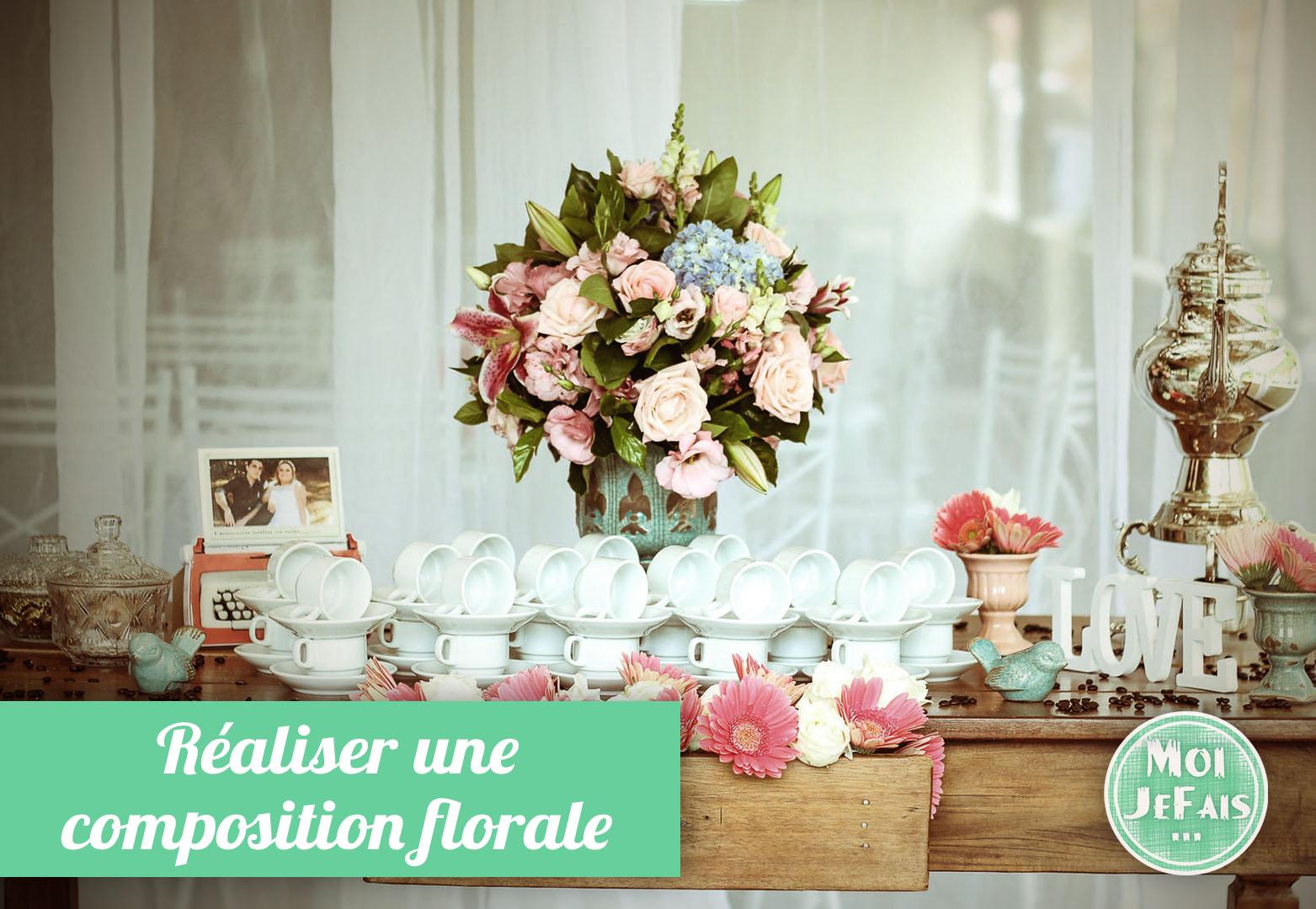 faire une compsoition florale avec fleurs articficielles