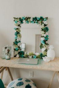 miroir fleurs