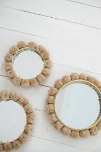 miroir pompon diy
